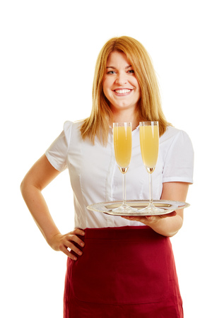 Smiling woman as a waitress with glasses and a tray