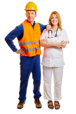 Company doctor and construction worker together as a team