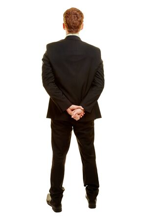 Businessman from the back with hands in the back Stock Photo