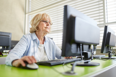 Senior woman learning and training in computer course Stock fotó - 100868116