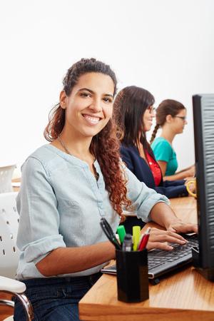 Woman as call center service operator or customer service representative Stock Photo