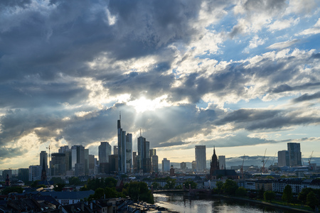 Frankfurt am Main skyline in the evening with many clouds in the sky