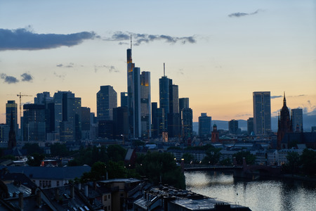 City Frankfurt am Main Skyline in the evening at dusk with skyscrapers