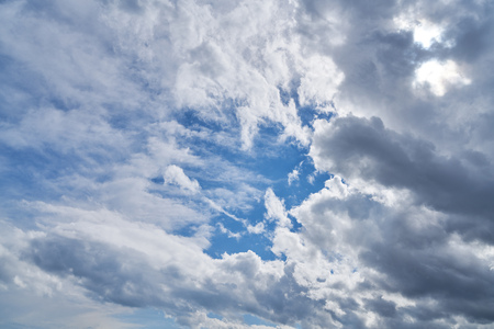 Blue sky with many white clouds in the day
