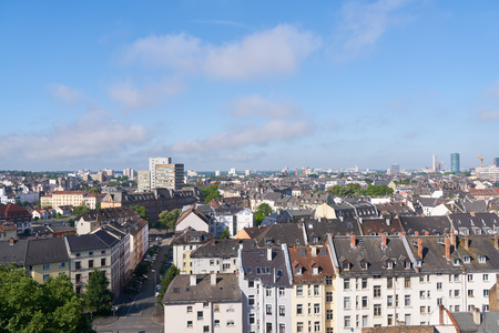 Roofs of tenements in Frankfurt am Main by day