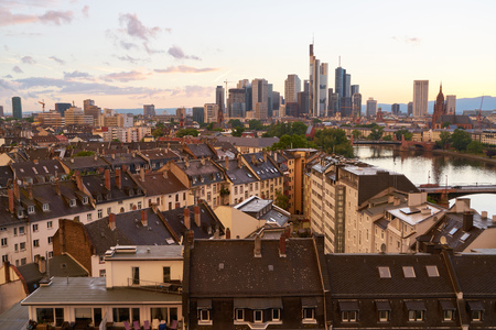Skyline of Frankfurt am Main in the evening with skyscrapers and skyscrapers