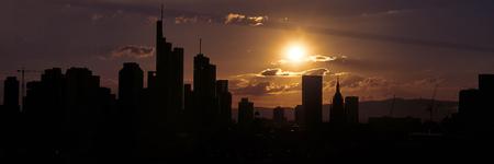 Frankfurt am Main Silhouette skyline panorama evening with sunset