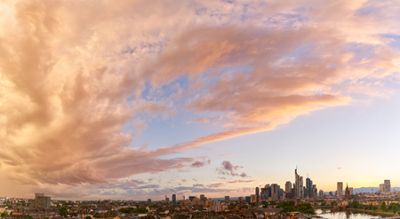 Panorama background with Frankfurt on Main skyline in the evening at sunset Stock Photo