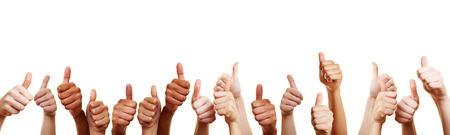 Banner with many different thumbs pointing upwards against white background Stockfoto