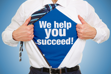 Man carries slogan We help you succeed! on T-shirt under his business shirt as a concept for successful consulting