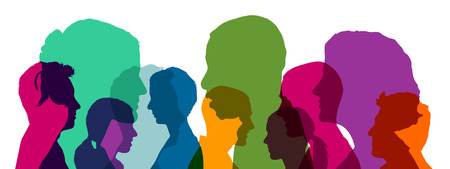 Many heads team as illustration in different bright colors Stock Photo