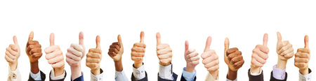 Many business people hold their thumbs up as a cooperation concept