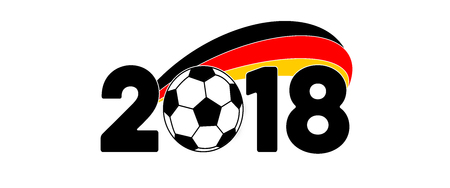 soccer 2018 banner with game ball and germany flag stock photo