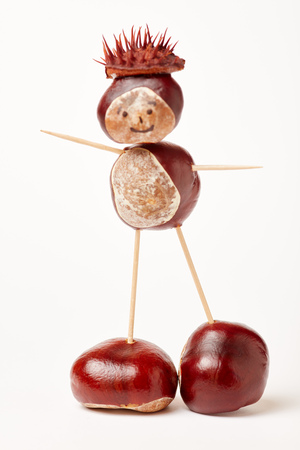 Chestnut figure making with chestnuts and toothpicks
