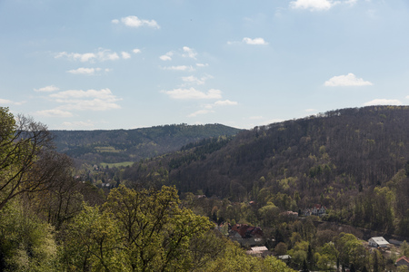 View of the Harz Mountains near Wernigerode in Saxony-Anhalt