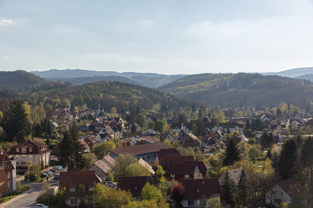 Cityscape of houses in Wernigerode in the Harz Mountains in Saxony-Anhalt, Germany Standard-Bild - 106385343