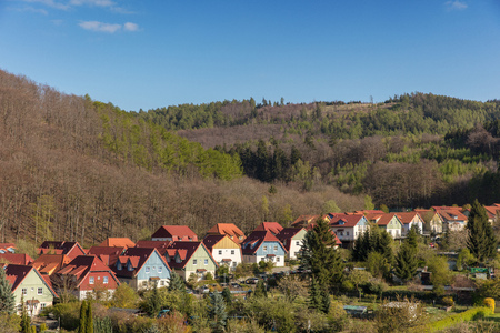 Row of detached houses in town Wernigerode in Saxony-Anhalt, Germany