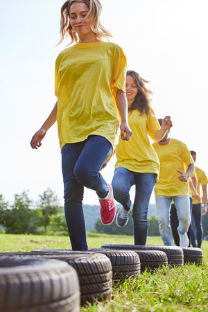 Sporting team trains fitness and coordination at a teambuilding event