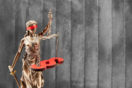 Blind Justitia with Libra and Paragraph in front of wood Background as law concept