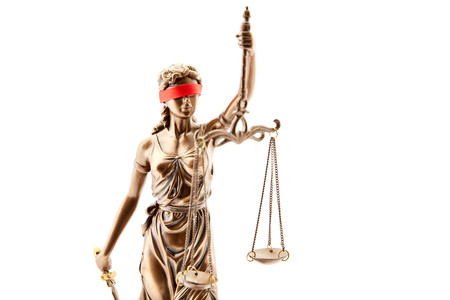 Blind Justitia with blindfold and Libra as justice concept Stockfoto - 107163281