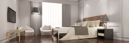 Panorama of elegant hotel room with flat TV screen on wall (3D Rendering)