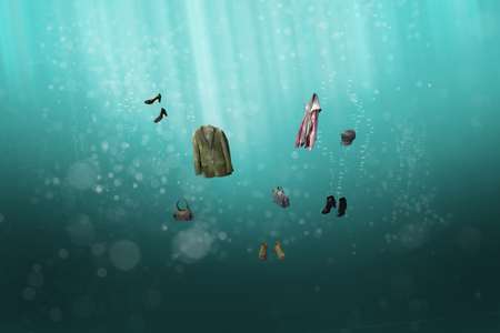 Clothing submerged in ocean water (3D Rendering) Banco de Imagens - 107394355