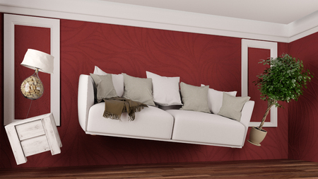 Furniture and sofa hoovering weightless in a red room (3D Rendering)