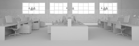 Office with many work spaces completely in white (3D Rendering) Stock fotó