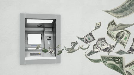 ATM machine on wall with flying money and blank white screen display (3D Rendering)