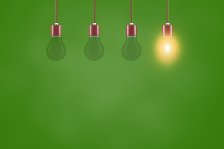 Energy solution concept with light bulb in front of a green background (3D Rendering)