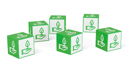 Sustainability concept for environmental protection on green cubes (3D Rendering)