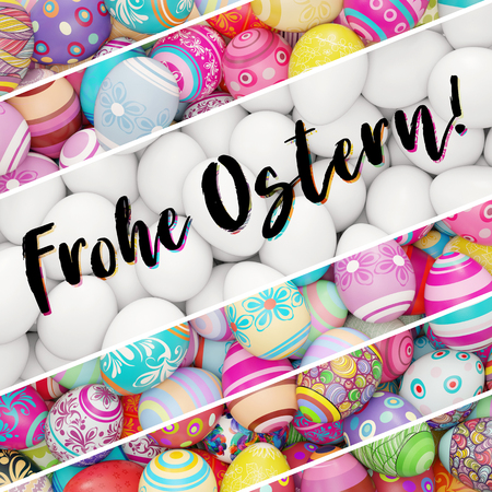 "Card with many colorful easter eggs with german text ""Frohe Ostern"" (happy eastern) (3D Rendering)"