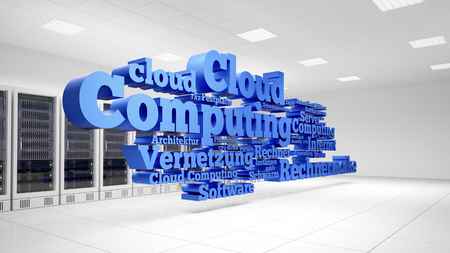 Cloud Computing concept hoovering in data center with German words Vernetzung (connection) Architektur (architecture) Schwarm (swarm) Rechnerwolke (cloud computing) (3D Rendering) Stock Photo