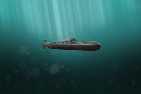 Military submarine diving in dark ocean (3D Rendering)