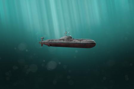 Sottomarino militare che si tuffa nell'oceano scuro (rendering 3D)