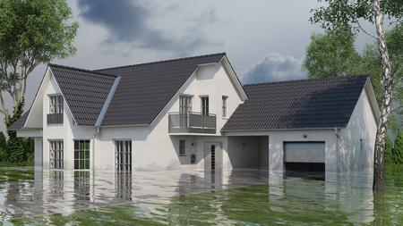 Einfamilienhaus mit Wasserschaden nach Überschwemmung (3D Rendering) Standard-Bild
