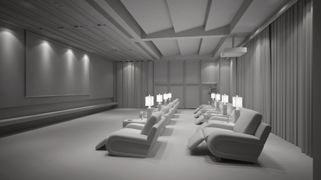 White home theater cinema with TV beamer and canvas (3D Rendering) Stockfoto