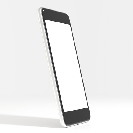 Smartphone with touchscreen in white background (3D Rendering)