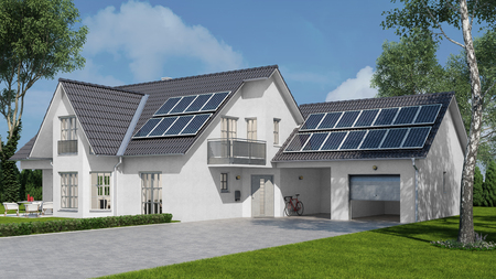 Solar energy system with photovoltaic solar cell panels on house (3D Rendering)