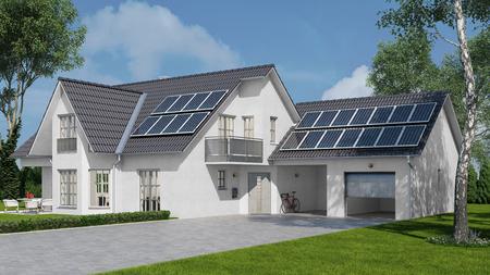 Zonne-energiesysteem met fotovoltaïsche zonnecelpanelen op huis (3D-rendering) Stockfoto