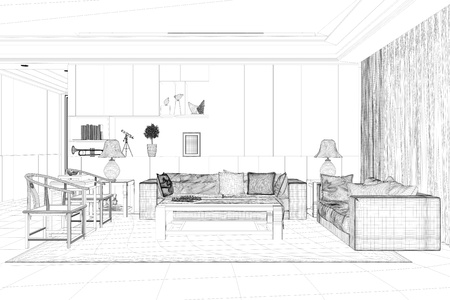CAD model of living room with sofa and chairs in room planer (3D Rendering) Foto de archivo