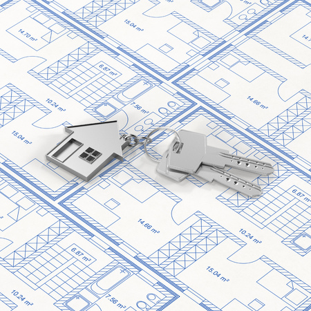Keys on house floor plan as house purchase concept (3D Rendering)