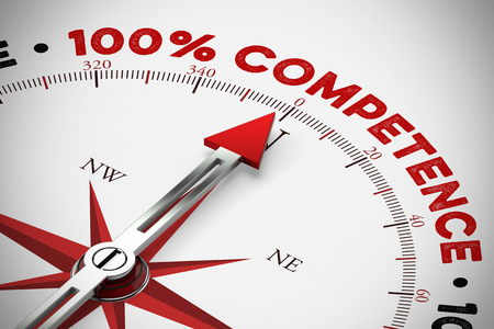 Arrow points to 100% Competence on a compass as service concept (3D Rendering) 스톡 콘텐츠