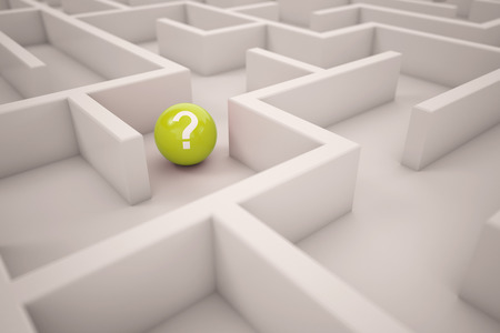 Navigation or orientation concept in maze with yellow ball with question mark (3D Rendering) Standard-Bild