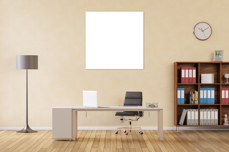 Square blank canvas hanging on wall in a home hoffice over desk (3D Rendering) Stok Fotoğraf