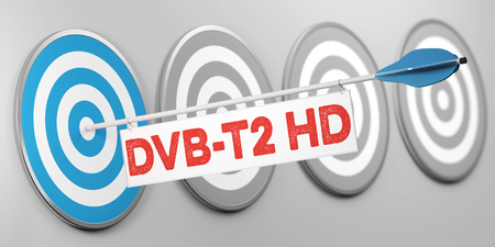 Change to DVB-T2 HD in television in Germany as concept (3D Rendering) Archivio Fotografico