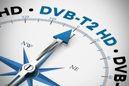 Change to DVB-T2 HD in television in Germany as concept (3D Rendering) Banque d'images