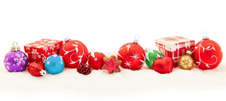 Banner di sfondo colorato di Natale come un panorama con doni e palline