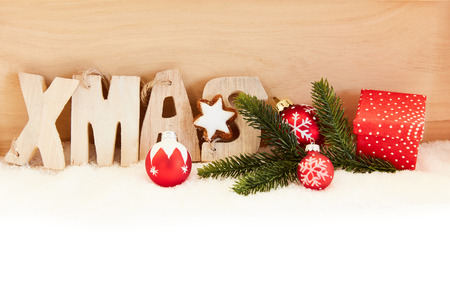 Christmas Xmas Header Decoration con biscotti e palline di Natale Archivio Fotografico