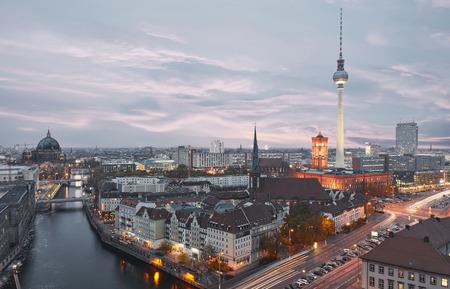 Berlin City skyline in the evening